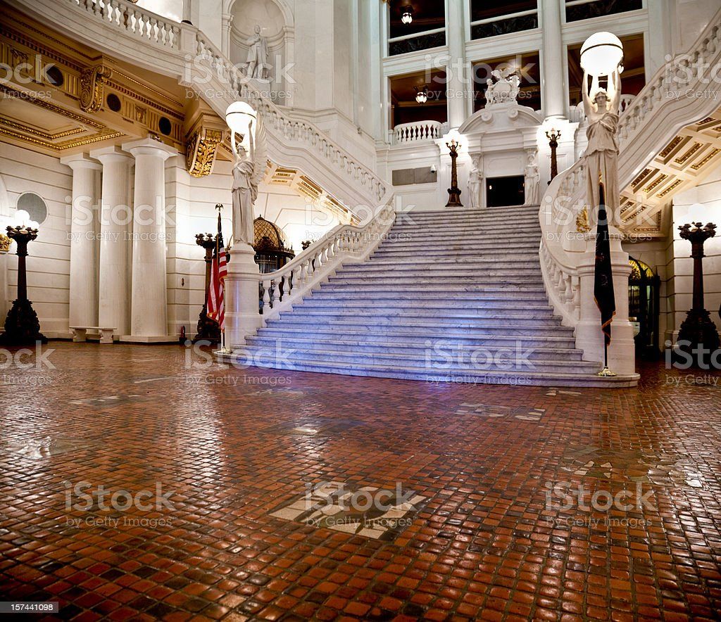 Grand Staircase at the Pennsylvania Capitol stock photo