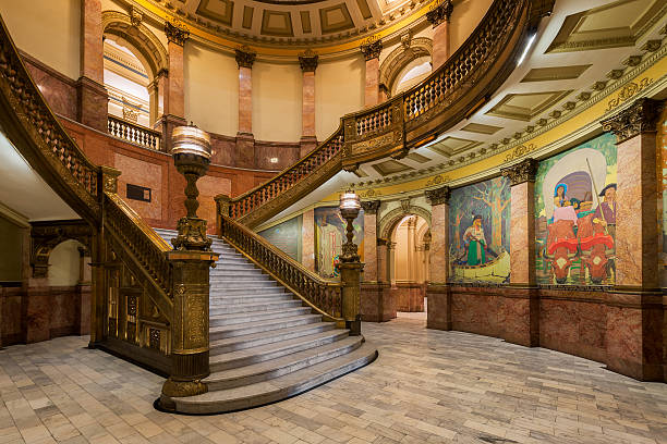 grand staircase in colorado state capitol - colorado state capitol stock photos and pictures