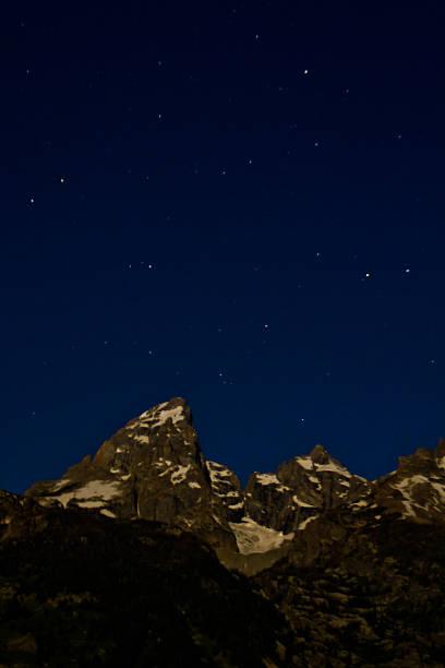 Grand Teton and Stars stock photo