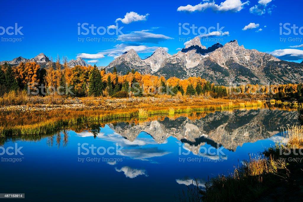 Grand Teton autumn beauty stock photo