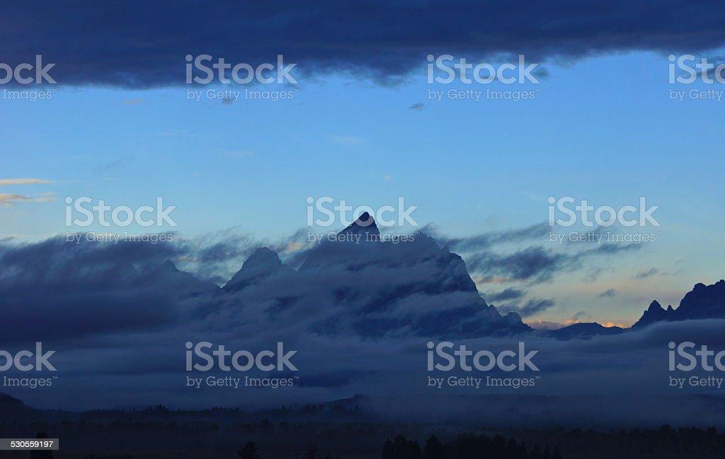 Grand Teton Dark Mystic stock photo