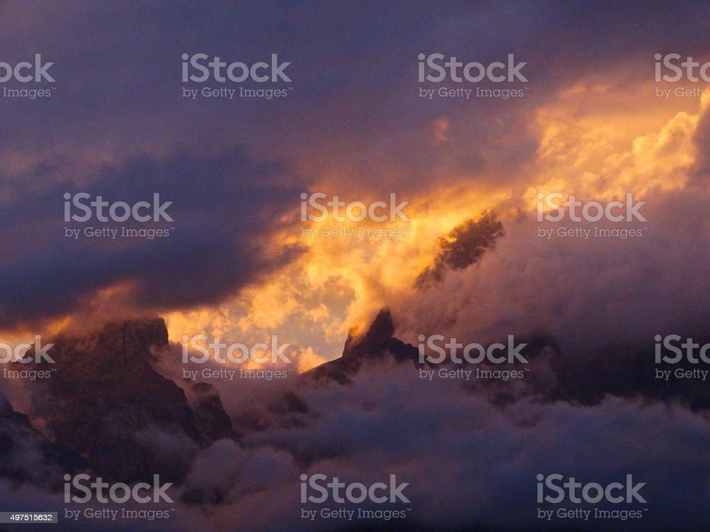 Grand Teton Mist stock photo