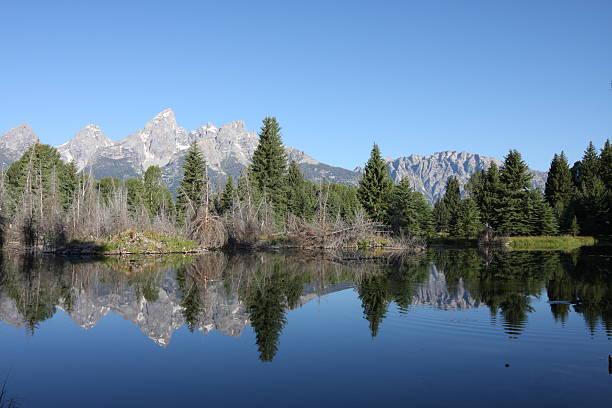 Grand Teton Mountain Range reflecting in lake stock photo