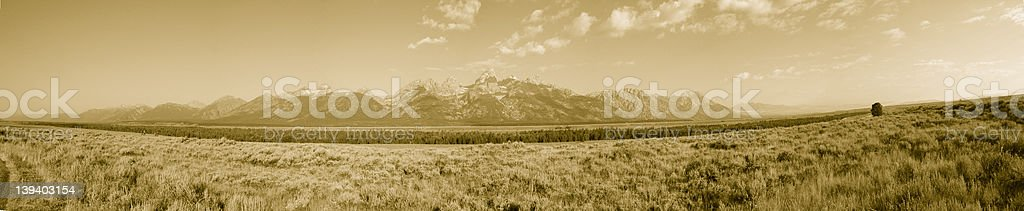 Grand Teton Mountain Range Sepia royalty-free stock photo