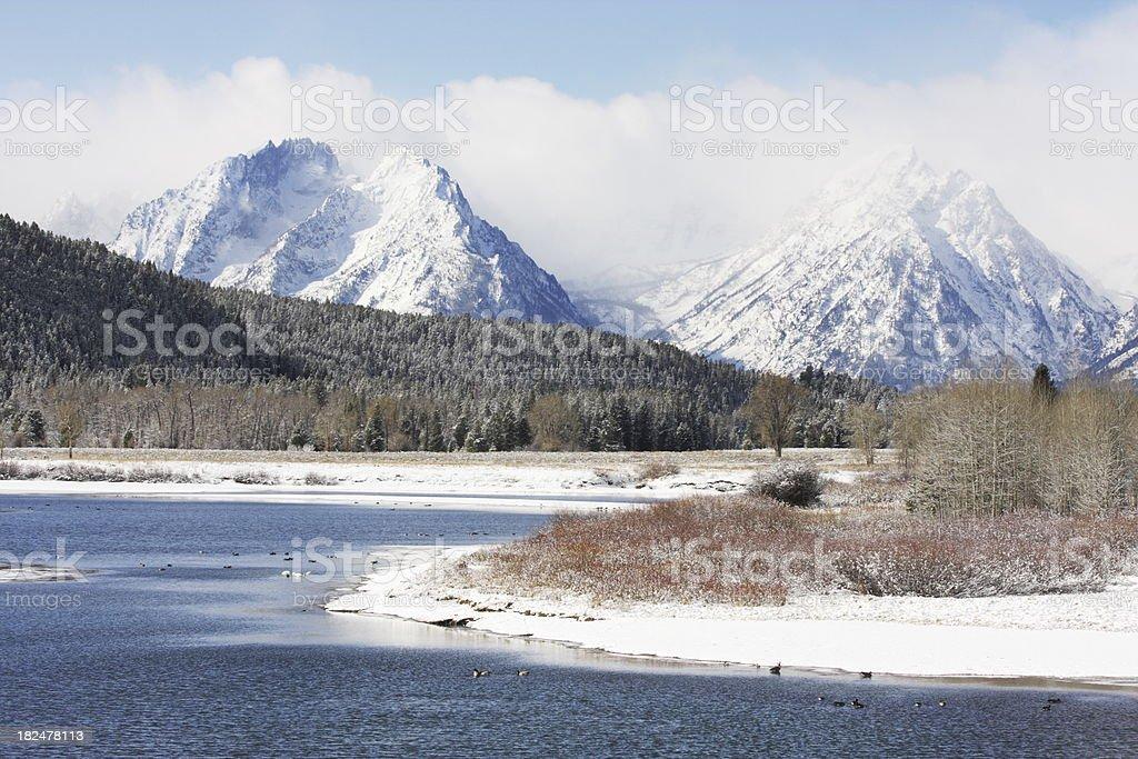 Grand Teton Mountain Wilderness Winter royalty-free stock photo