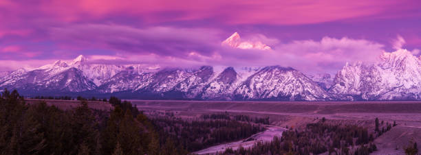 Grand Teton mountains at dawn stock photo