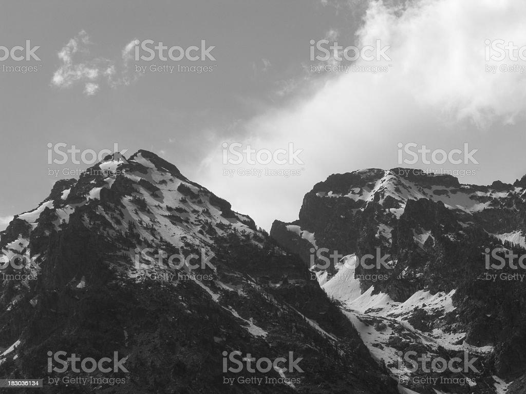 Grand Teton Mountains Black And White royalty-free stock photo