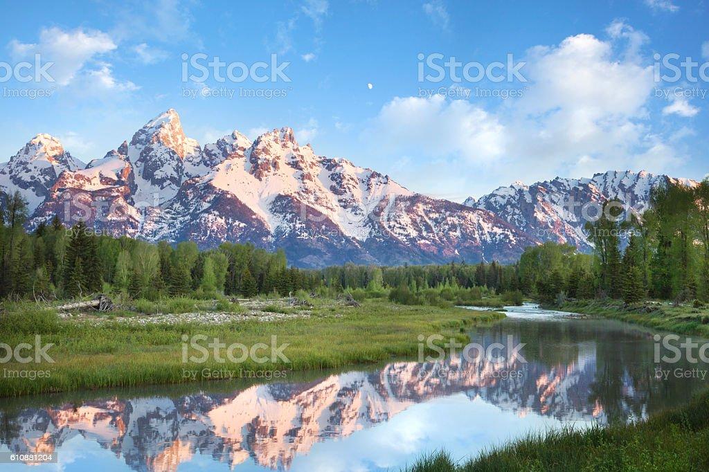 Grand Teton mountains in morning light stock photo
