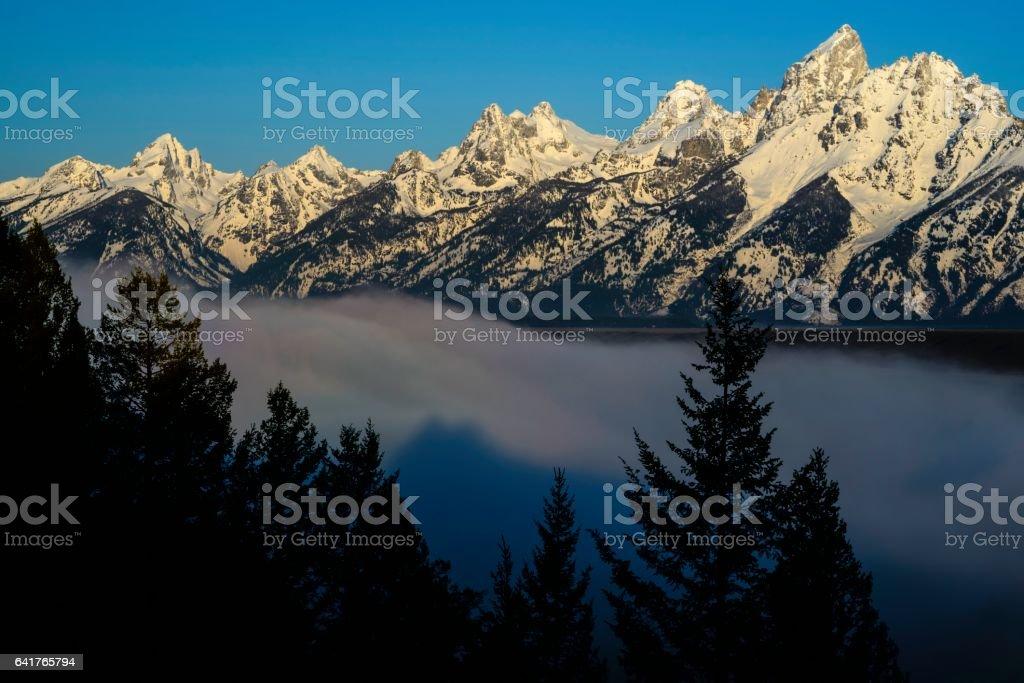 Grand Teton National Park in Morning Mist stock photo