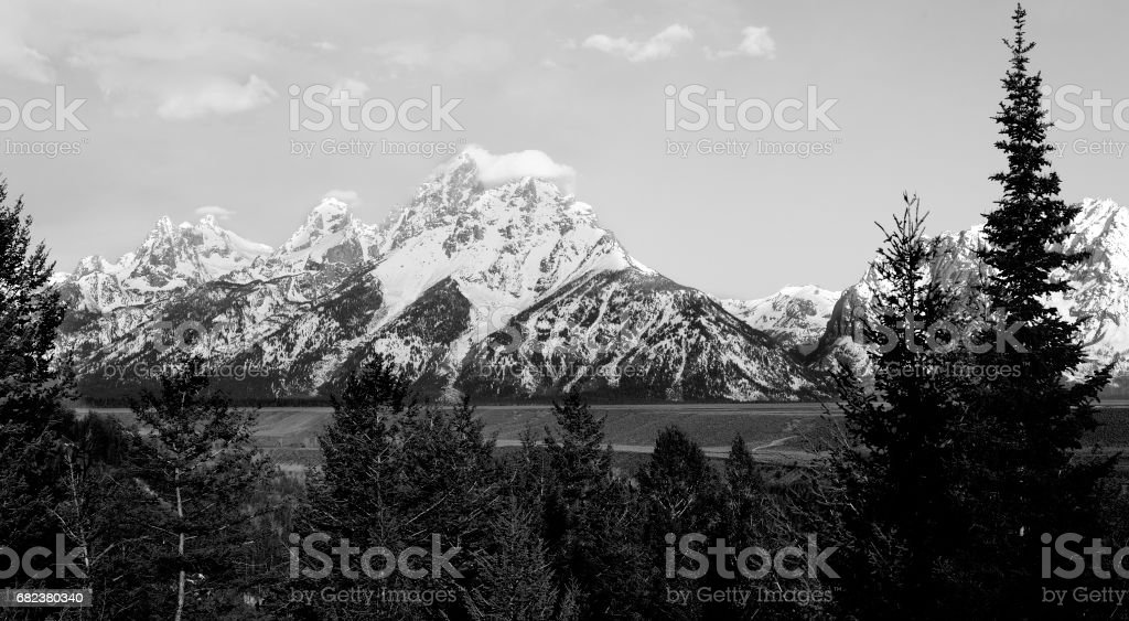 Grand Teton National Park in Morning Mist royalty-free stock photo