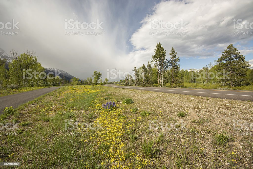Grand Teton National Park Road and Bike Path in spring royalty-free stock photo