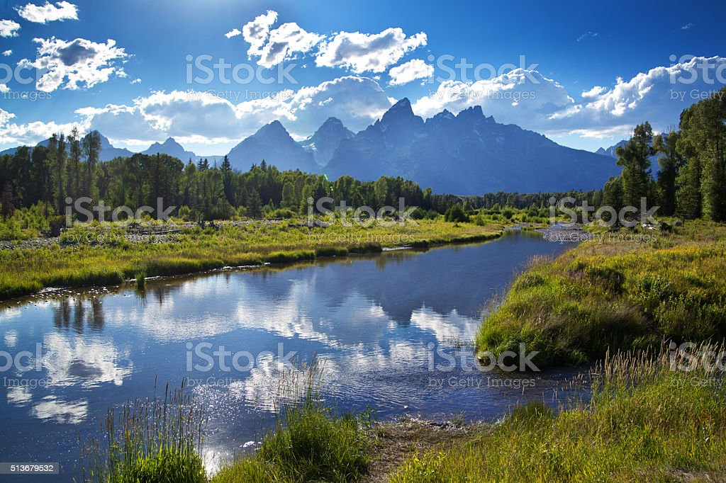 Grand Teton National Park Snake River and Mountain Range stock photo