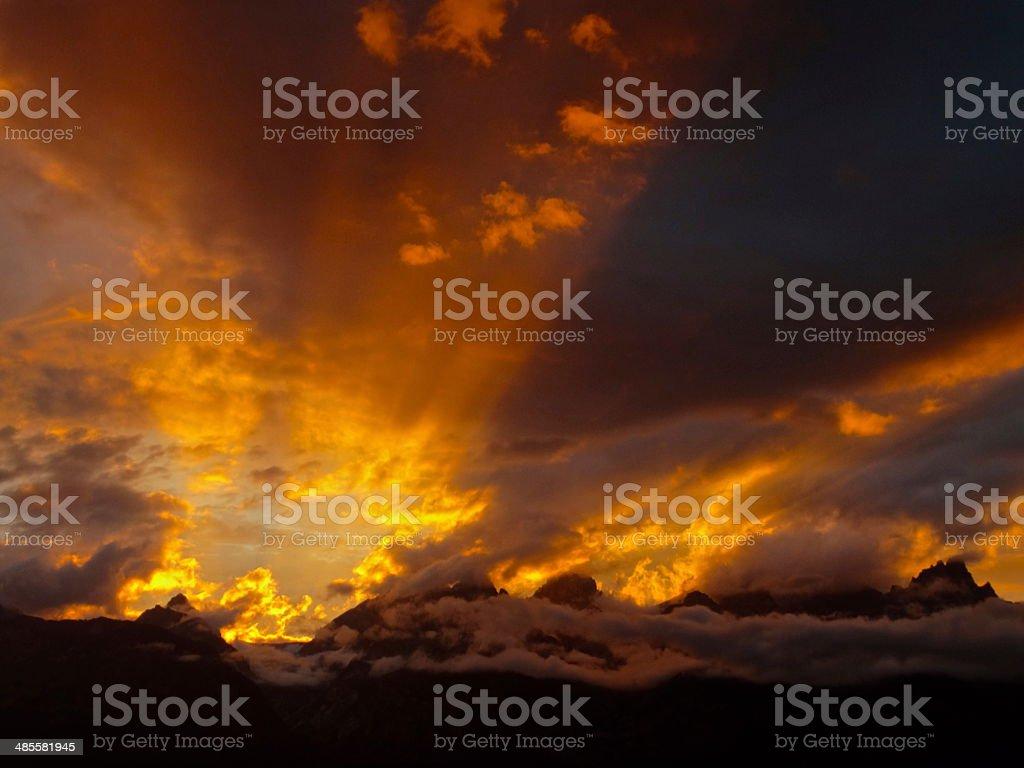 Grand Teton Sunset stock photo