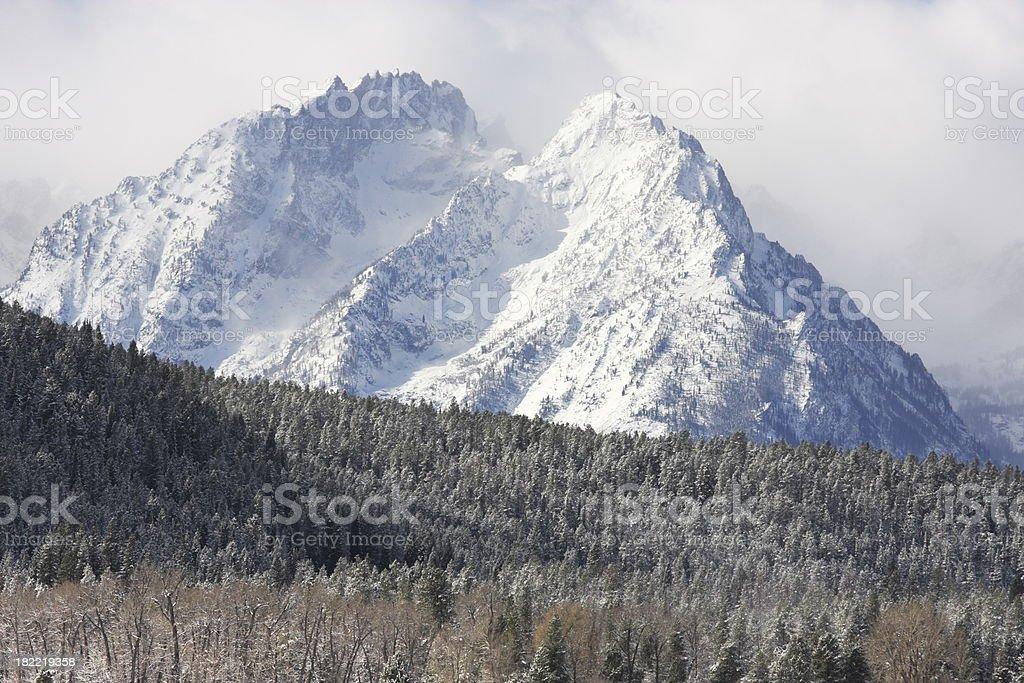 Grand Teton Wilderness Snow Storm stock photo