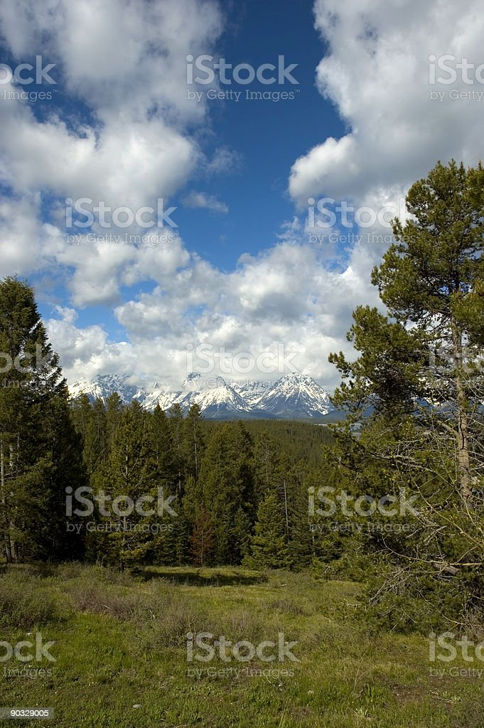 Grand Tetons and clouds royalty-free stock photo