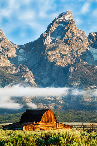 Grand Tetons Loom over Moulton Barn Moulton Barn glows in morning light on Mormon Row at the foot of the Grand Tetons near Jackson, Wyoming, USA. lenticular cloud stock pictures, royalty-free photos & images