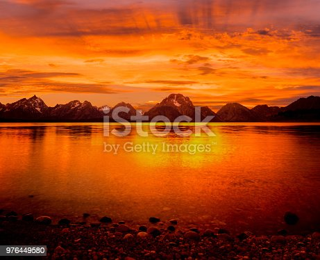 orange sunset at the Tetons, Grand Tetons National Park, Tetons with water, Sunset over Jackson Lake