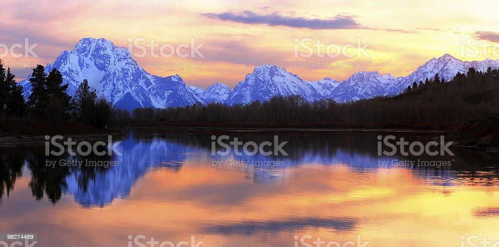 그랜드 Tetons 해질녘까지 파노라마 royalty-free 스톡 사진