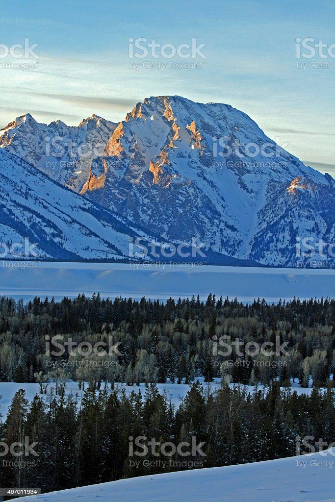 Grand Tetons Winter Sunset stock photo