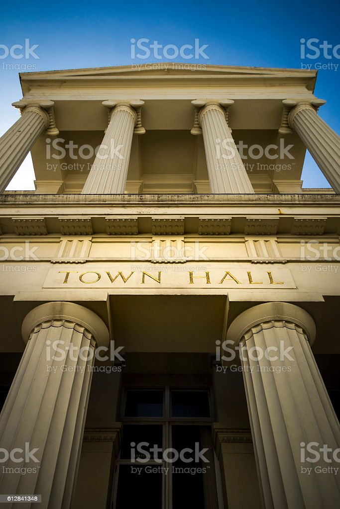 Grand town hall with gold carved lettering stock photo