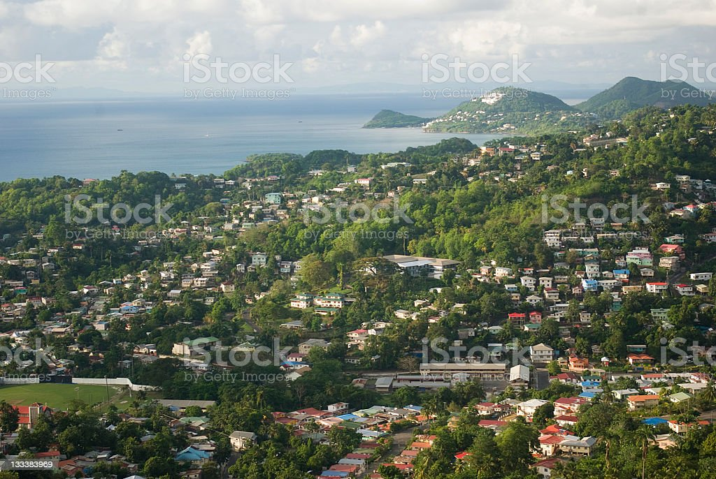 grand vista of crowded residential area and ocean royalty-free stock photo