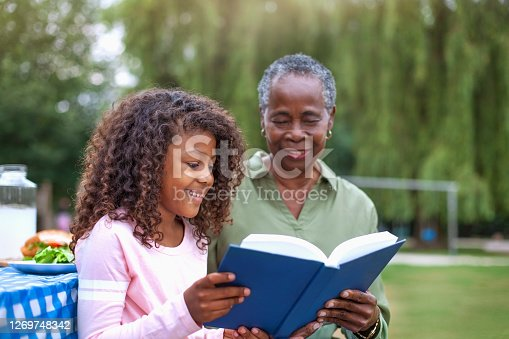 istock Granddaughter reading book with grandmother at public park picnic 1269748342