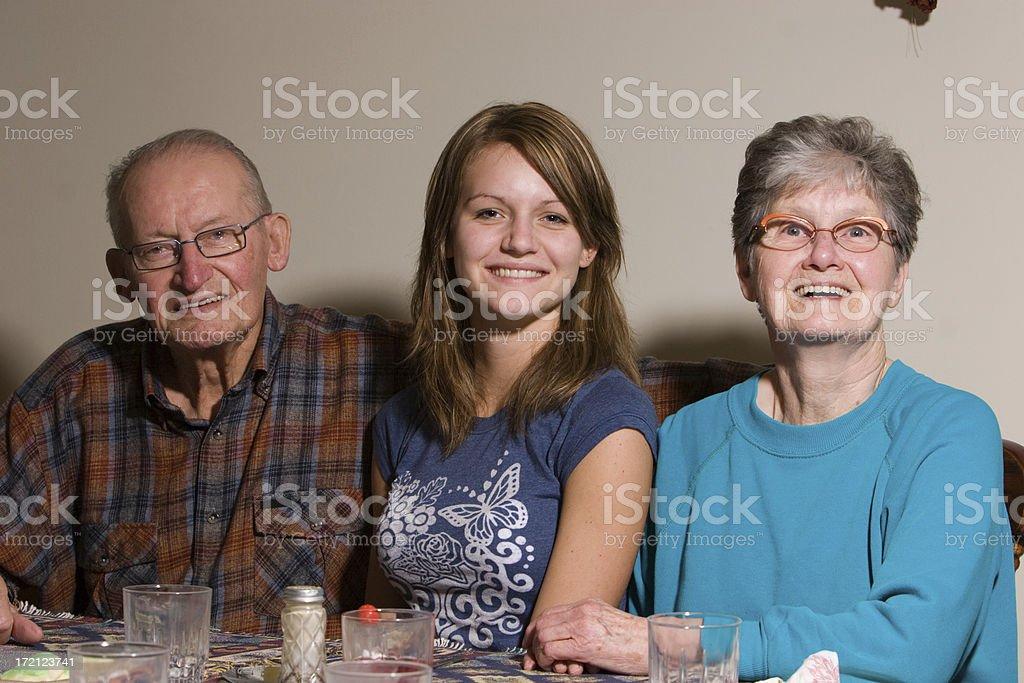 Granddaughter saying goodbye royalty-free stock photo