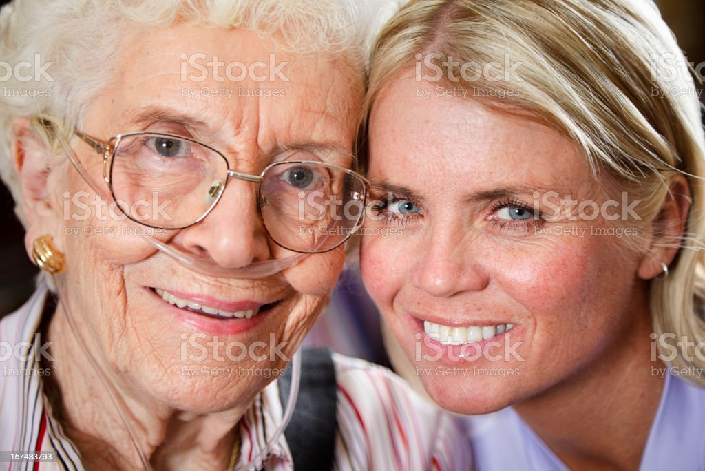 Granddaughter With Grandmother stock photo