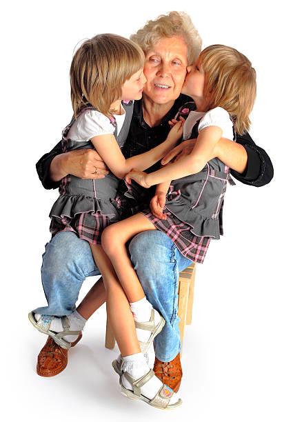 granddaughters und großmutter - granny legs stock-fotos und bilder