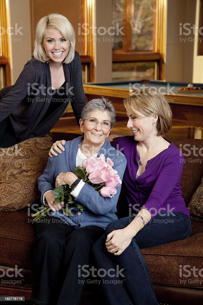Granddaughters & Grandmother royalty-free stock photo