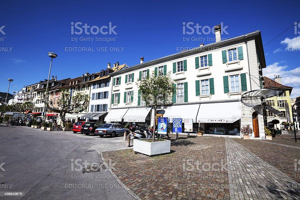 Grande Place in Vevey, Switzerland stock photo