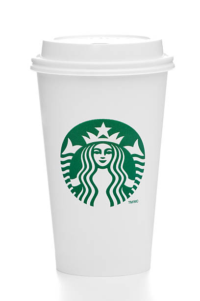 Grande sized Starbucks take out coffee cup on white stock photo