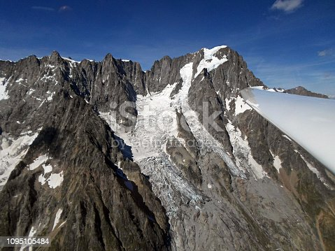 Grandes Jorasses. Aerial View from glider. Italian Alps. Italy, Europe