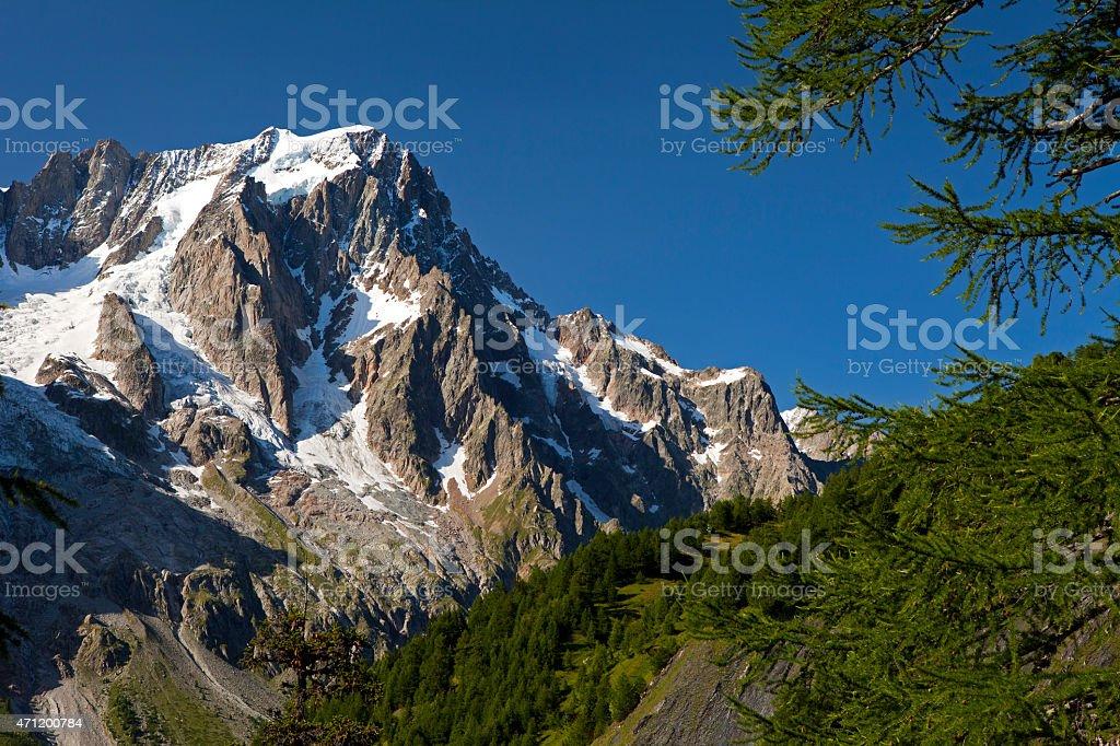 Grandes Jorasses, Mont Blanc Massif, Ferret Valley, Italy stock photo