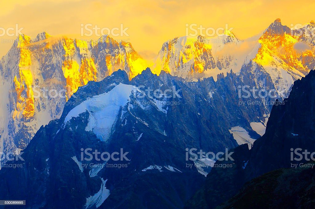 Grandes Jorasses over mer de glace at sunset, Mont Blanc stock photo