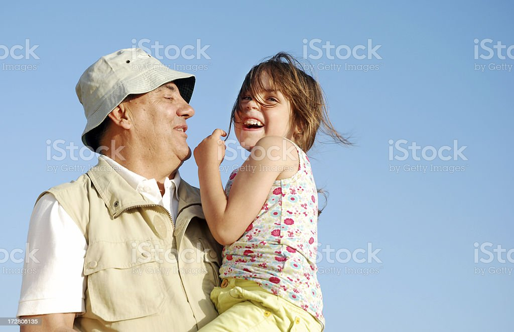 Grandfather and grandaugther happy together royalty-free stock photo