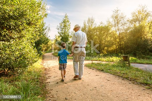 istock Grandfather and grandchild walking outdoors 1002688512