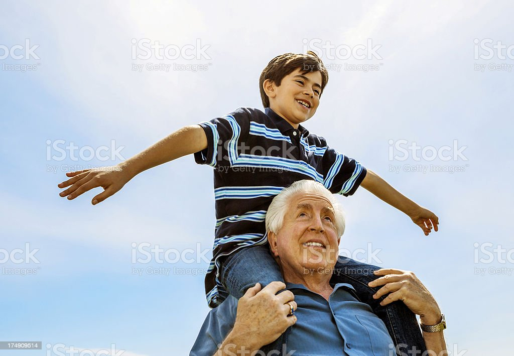Grandfather and Grandchildren royalty-free stock photo