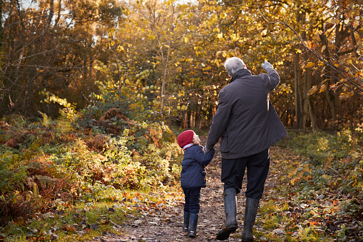 Grandfather And Granddaughter Enjoying Autumn Walk