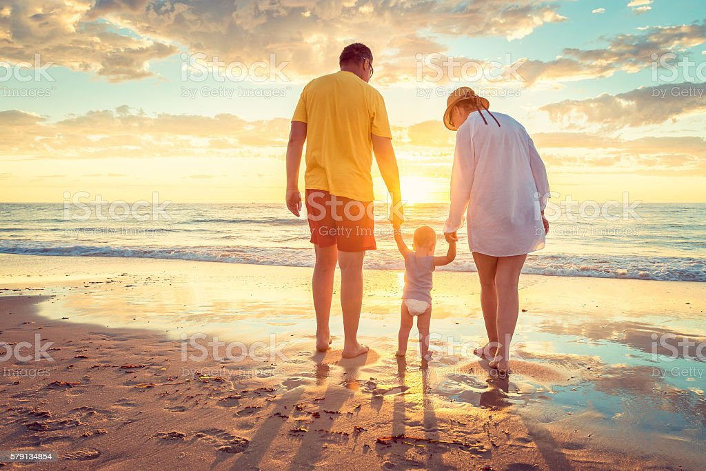 Grandfather and grandmother with grandson stock photo