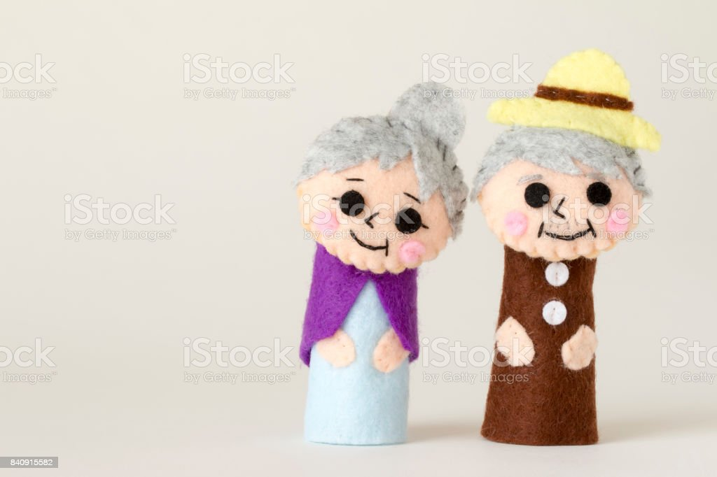 grandfather and grandmother's doll stock photo