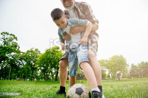639800036istockphoto Grandfather and grandson enjoy a game 1154362067