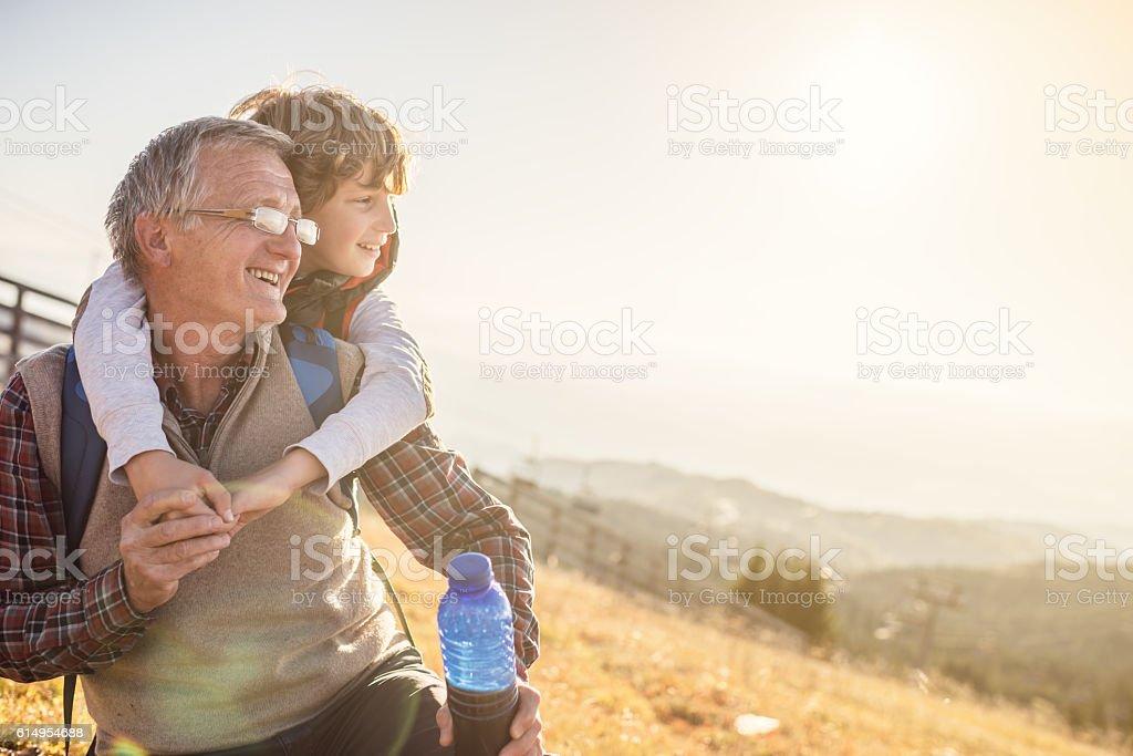 Grandfather and grandson in nature – Foto