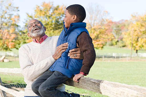 A grandfather and grandson stock photo