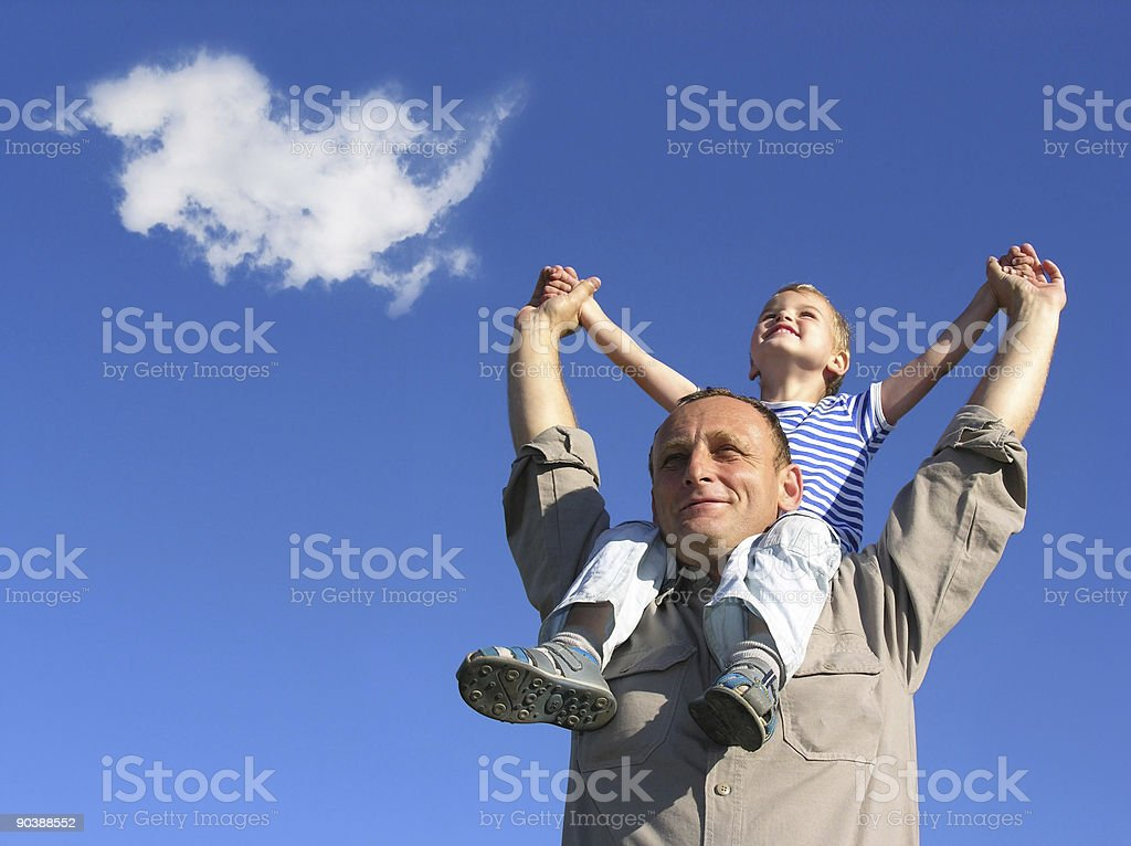 grandfather and grandson with cloud royalty-free stock photo
