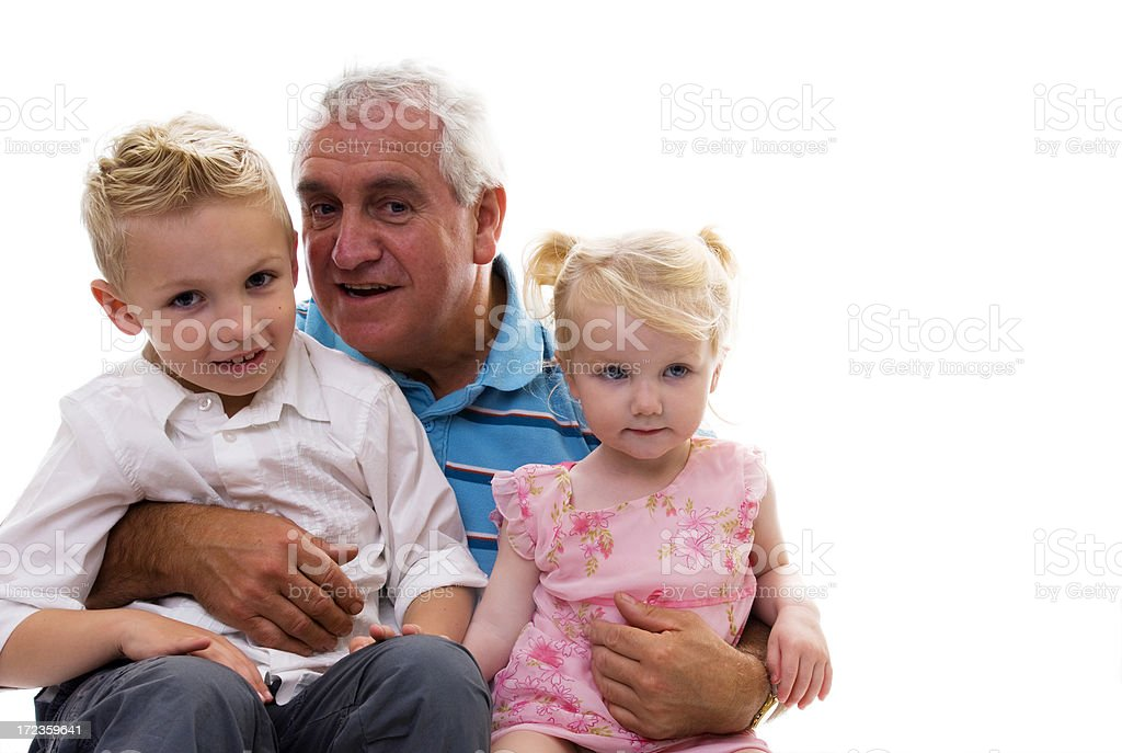 grandfather and his two grandchildren royalty-free stock photo