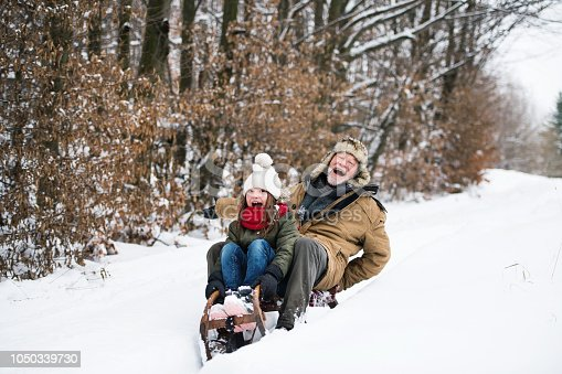 Senior grandfather and a small girl sledging on a winter day.
