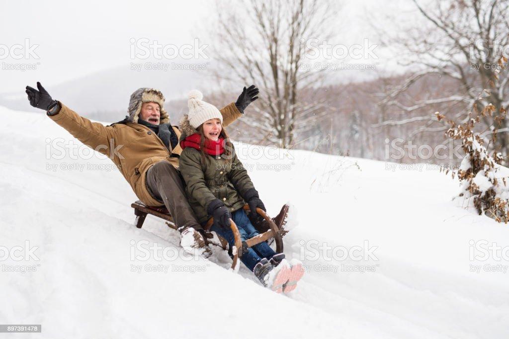 Grand-père et petite fille luge sur une journée d'hiver. photo libre de droits
