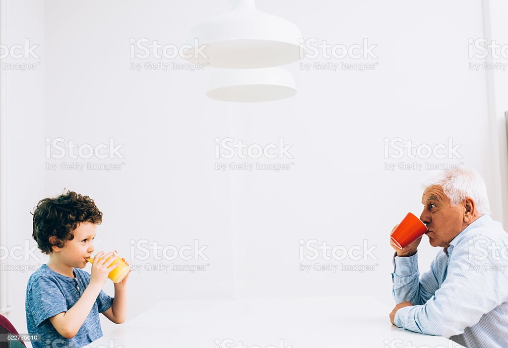 Grandfather and son time stock photo