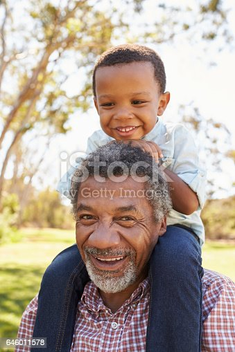 istock Grandfather Carries Grandson On Shoulders During Walk In Park 646011578